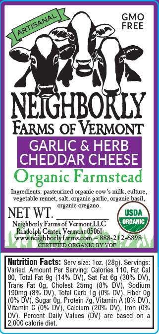 Organic Garlic & Herb Cheddar Cheese